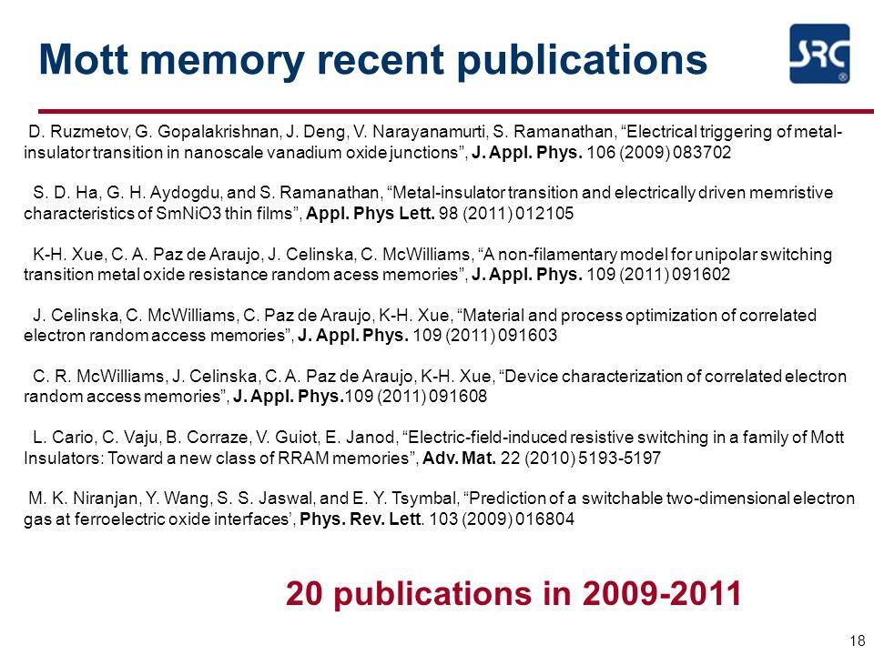 "Mott memory recent publications 18 D. Ruzmetov, G. Gopalakrishnan, J. Deng, V. Narayanamurti, S. Ramanathan, ""Electrical triggering of metal- insulato"