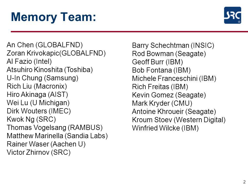 Memory Team: 2 An Chen (GLOBALFND) Zoran Krivokapic(GLOBALFND) Al Fazio (Intel) Atsuhiro Kinoshita (Toshiba) U-In Chung (Samsung) Rich Liu (Macronix)