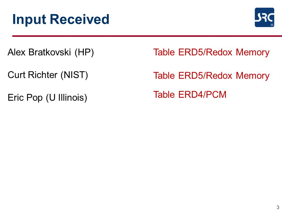 Input Received 3 Alex Bratkovski (HP) Curt Richter (NIST) Eric Pop (U Illinois) Table ERD5/Redox Memory Table ERD4/PCM