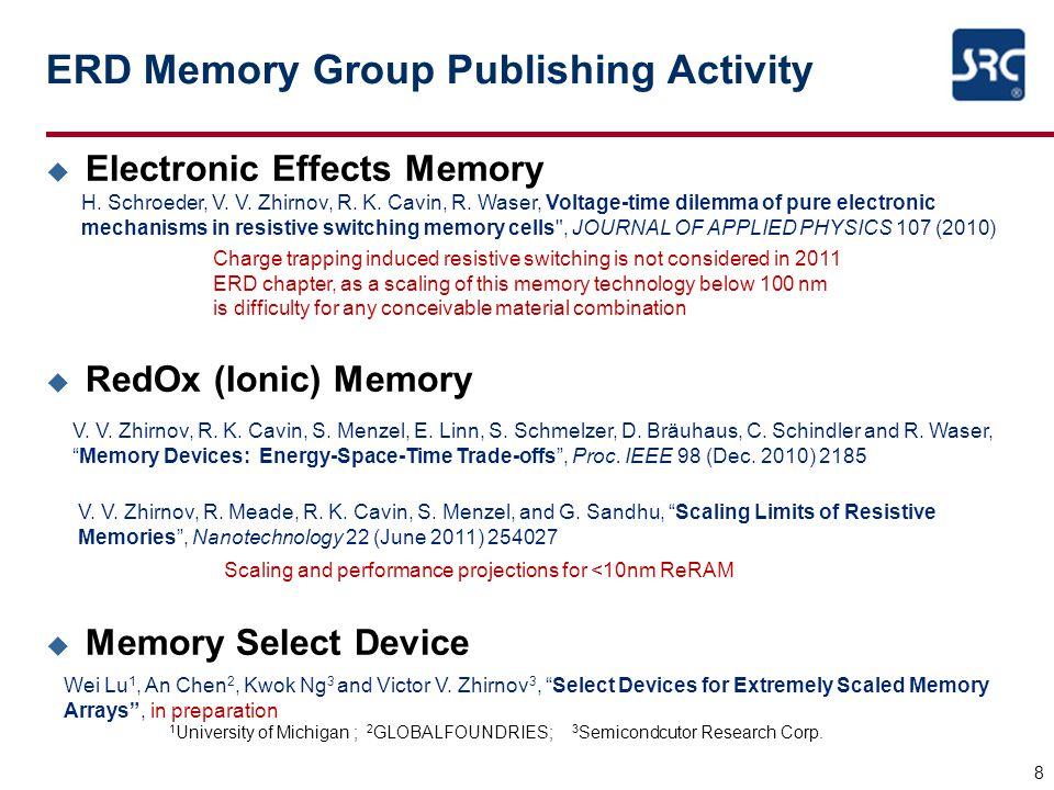 ERD Memory Group Publishing Activity u Electronic Effects Memory u RedOx (Ionic) Memory u Memory Select Device 8 V. V. Zhirnov, R. K. Cavin, S. Menzel