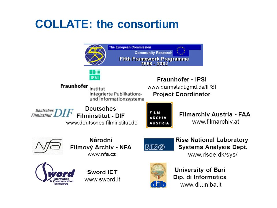 The goal of the COLLATE project  Constructing a Web-based Collaboratory in use (collaborative laboratory) for archives, researchers and end-users working with digitized historical and cultural material  Multimedia digital repository  European historic film documentation (20ies and 30ies)  XML metadata (cataloguing & content indexing)  Ensure accessibility  Work environment for content indexing & annotation  Content-based retrieval  Evaluate acceptability  Preservation case studies by film experts  Empirical studies of real-life user behavior