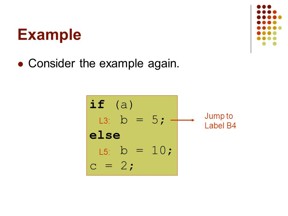 Example Consider the example again. if (a) b = 5; else b = 10; c = 2; L5: Jump to Label B4 L3: