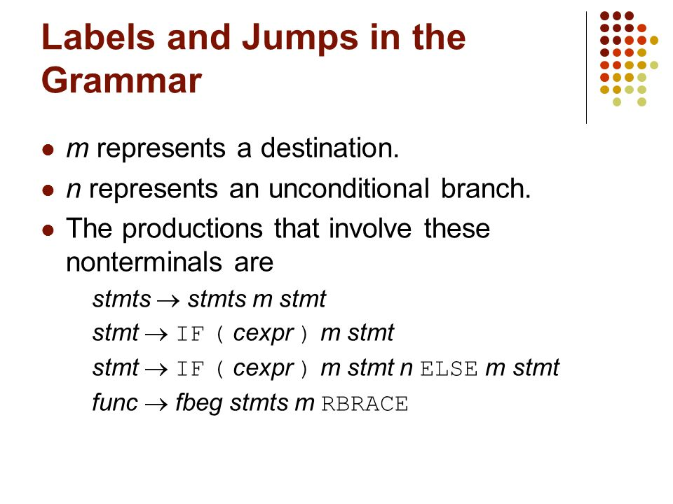 Labels and Jumps in the Grammar m represents a destination.