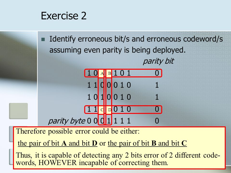 Exercise 3 Identify erroneous bit/s and erroneous codeword/s assuming even parity is being deployed.