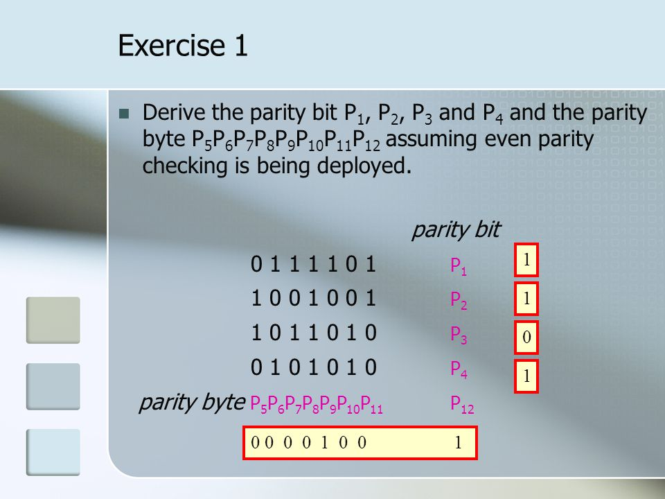 Exercise 1 Derive the parity bit P 1, P 2, P 3 and P 4 and the parity byte P 5 P 6 P 7 P 8 P 9 P 10 P 11 P 12 assuming even parity checking is being deployed.