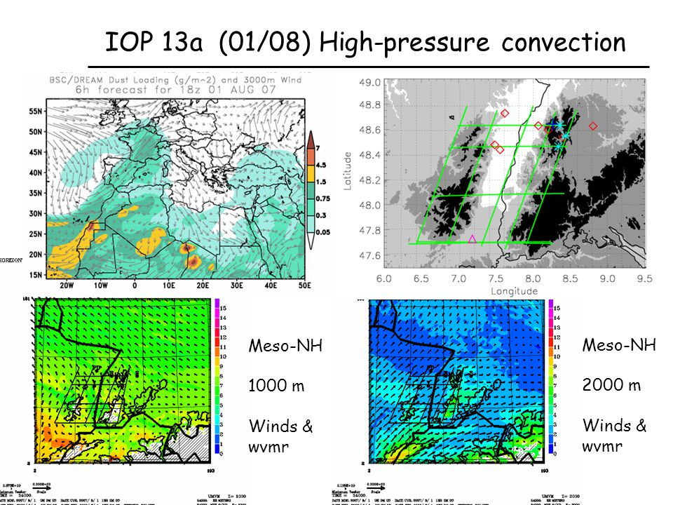 Meso-NH 2000 m Winds & wvmr IOP 13a (01/08) High-pressure convection Meso-NH 1000 m Winds & wvmr