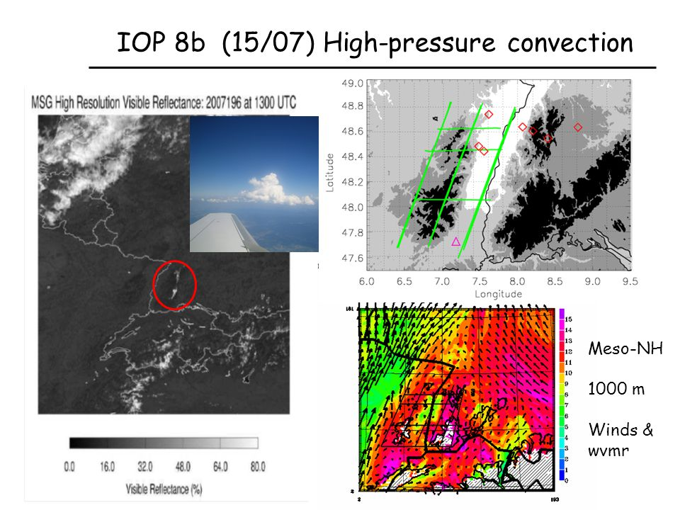 IOP 8b (15/07) High-pressure convection Meso-NH 1000 m Winds & wvmr
