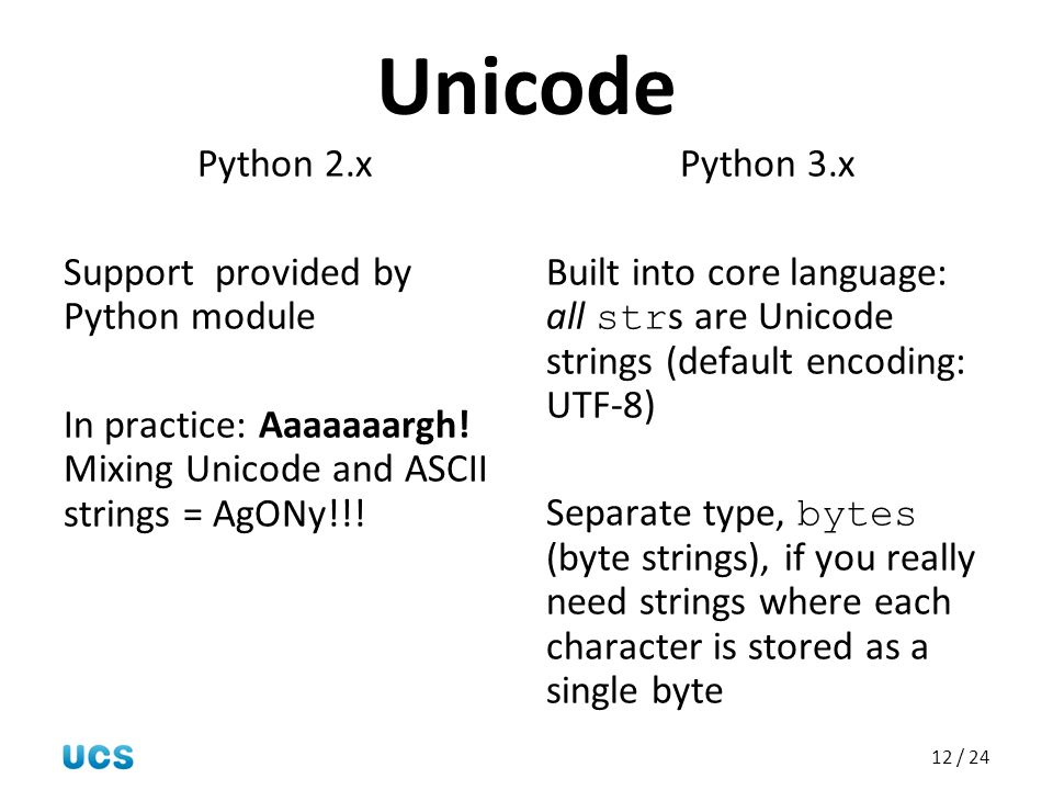 12 / 24 Unicode Python 2.x Support provided by Python module In practice: Aaaaaaargh! Mixing Unicode and ASCII strings = AgONy!!! Python 3.x Built int