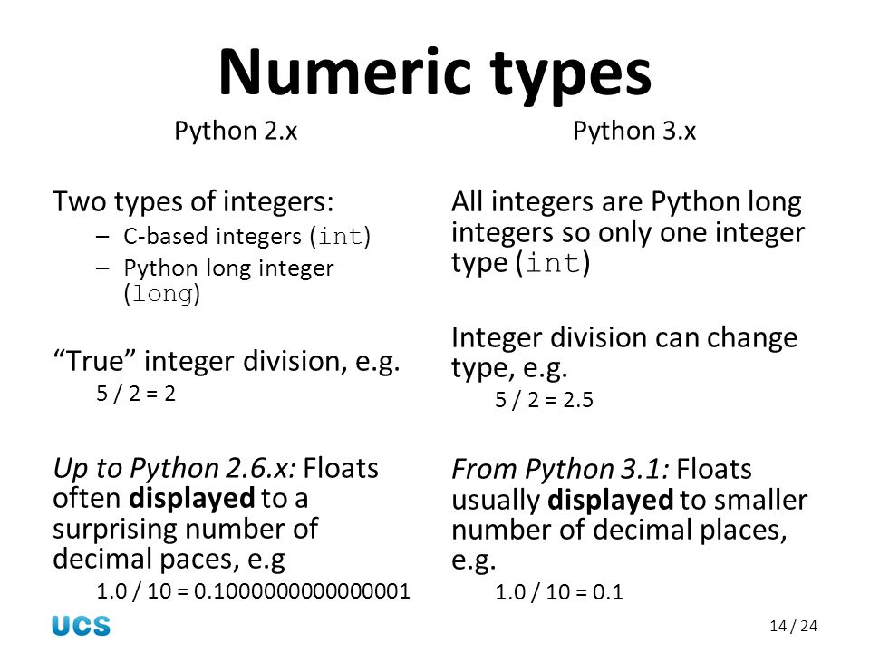 """14 / 24 Numeric types Python 2.x Two types of integers: –C-based integers ( int ) –Python long integer ( long ) """"True"""" integer division, e.g. 5 / 2 ="""