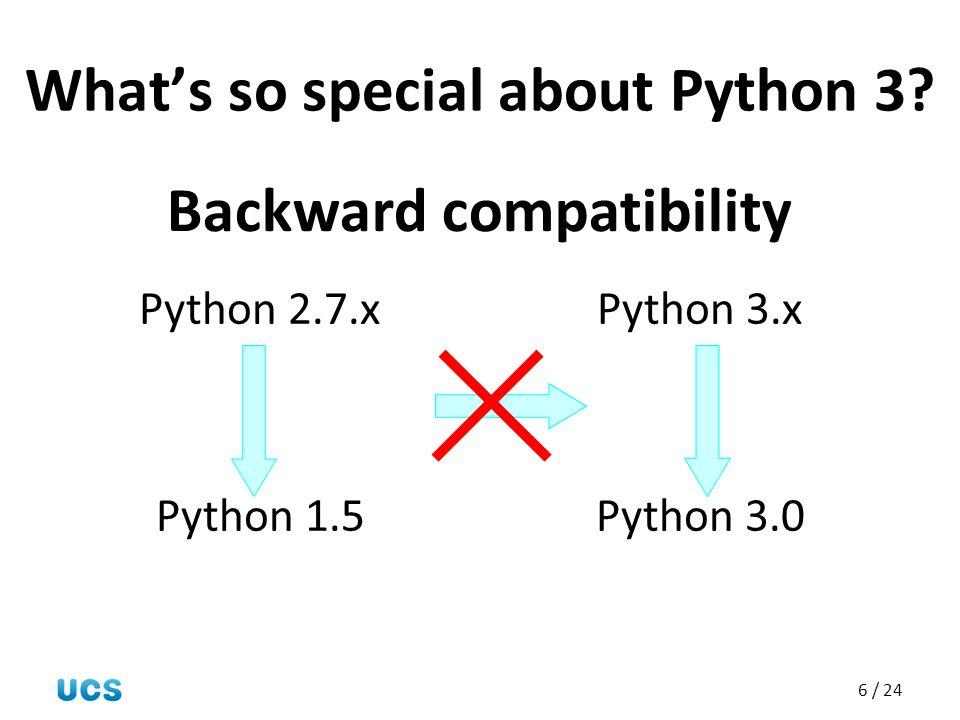 6 / 24 What's so special about Python 3? Python 2.7.x Python 1.5 Python 3.x Python 3.0 Backward compatibility