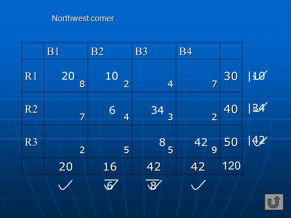 Northwest corner Northwest cornerB1B2B3B4 R130 8247 R240 7432 R350 2559 20164242 120 20 42 10 6 634 |10 |34 8 |42 8