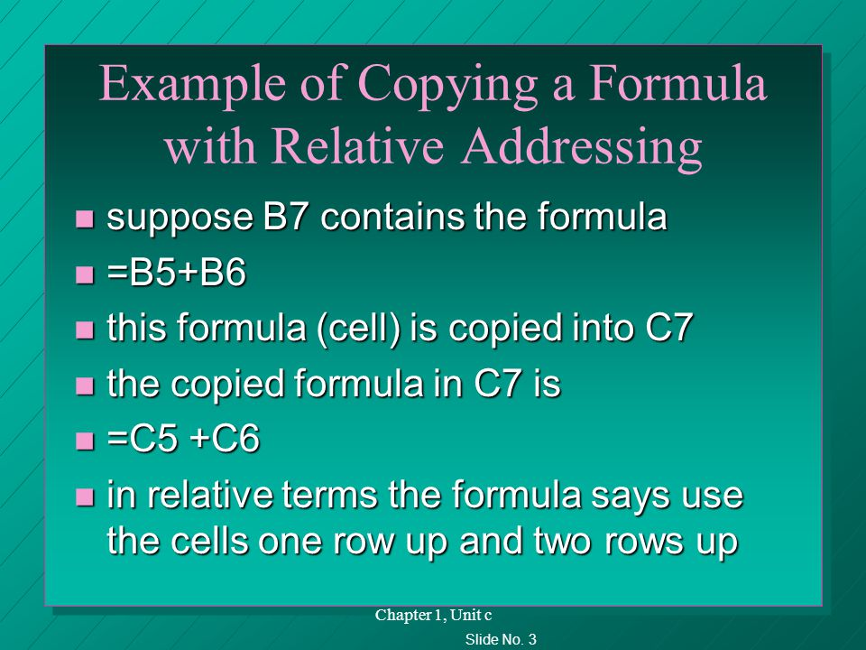 Slide No. 3 Chapter 1, Unit c Example of Copying a Formula with Relative Addressing n suppose B7 contains the formula n =B5+B6 n this formula (cell) i