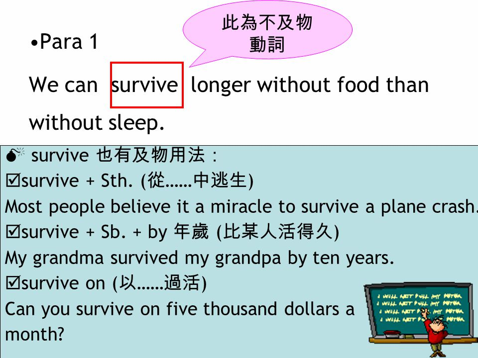  survive 也有及物用法:  survive + Sth. ( 從 …… 中逃生 ) Most people believe it a miracle to survive a plane crash.  survive + Sb. + by 年歲 ( 比某人活得久 ) My grand