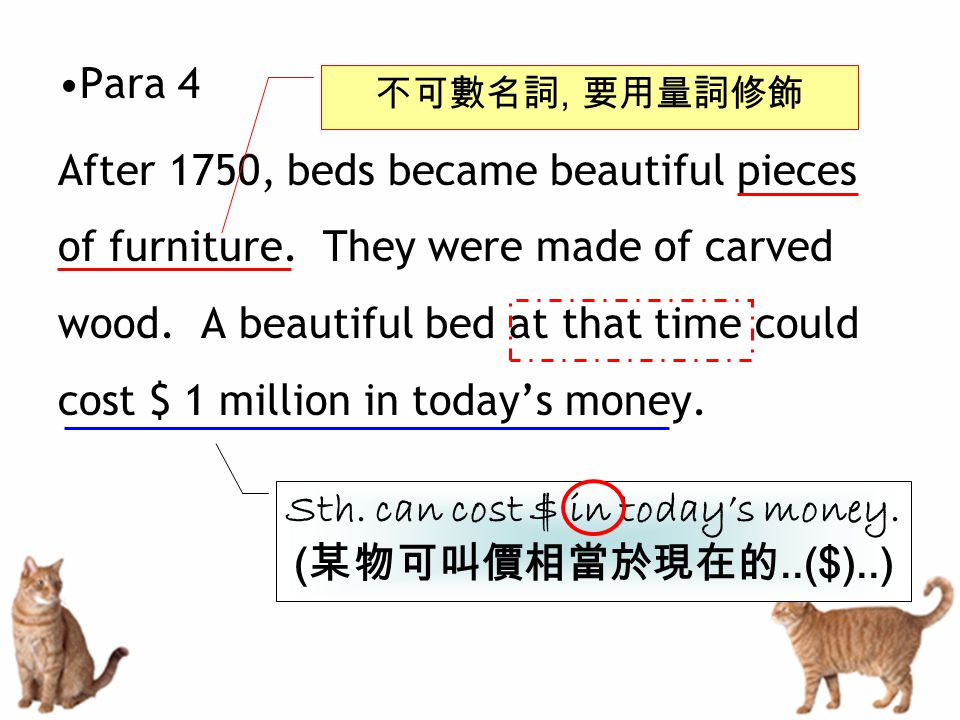 Para 4 After 1750, beds became beautiful pieces of furniture.