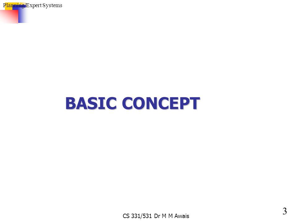 3 Planning/Expert Systems CS 331/531 Dr M M Awais BASIC CONCEPT