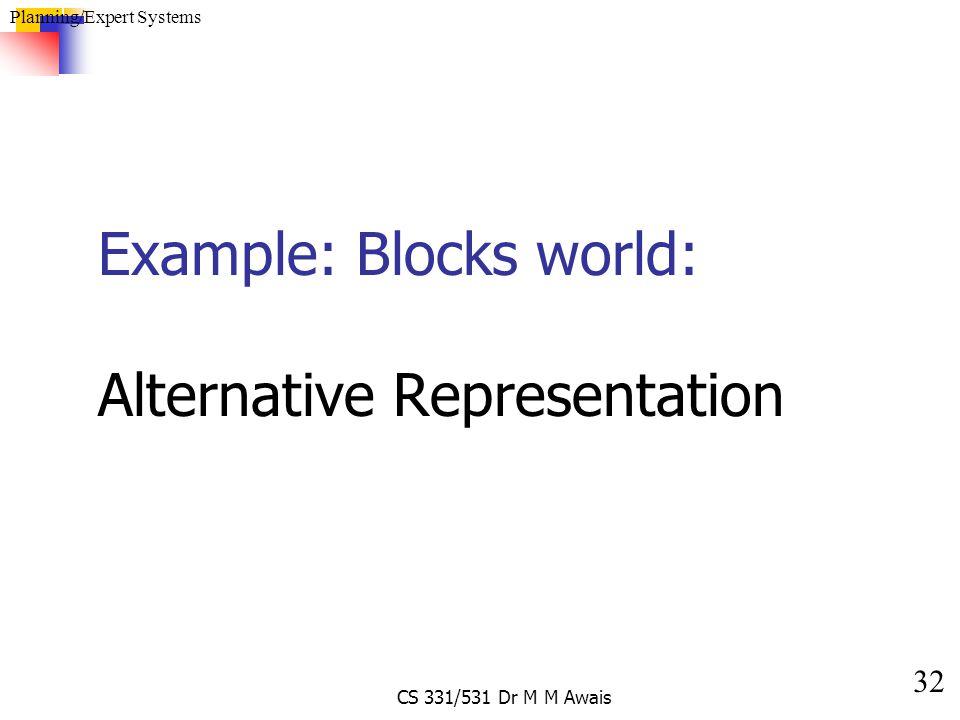 32 Planning/Expert Systems CS 331/531 Dr M M Awais Example: Blocks world: Alternative Representation