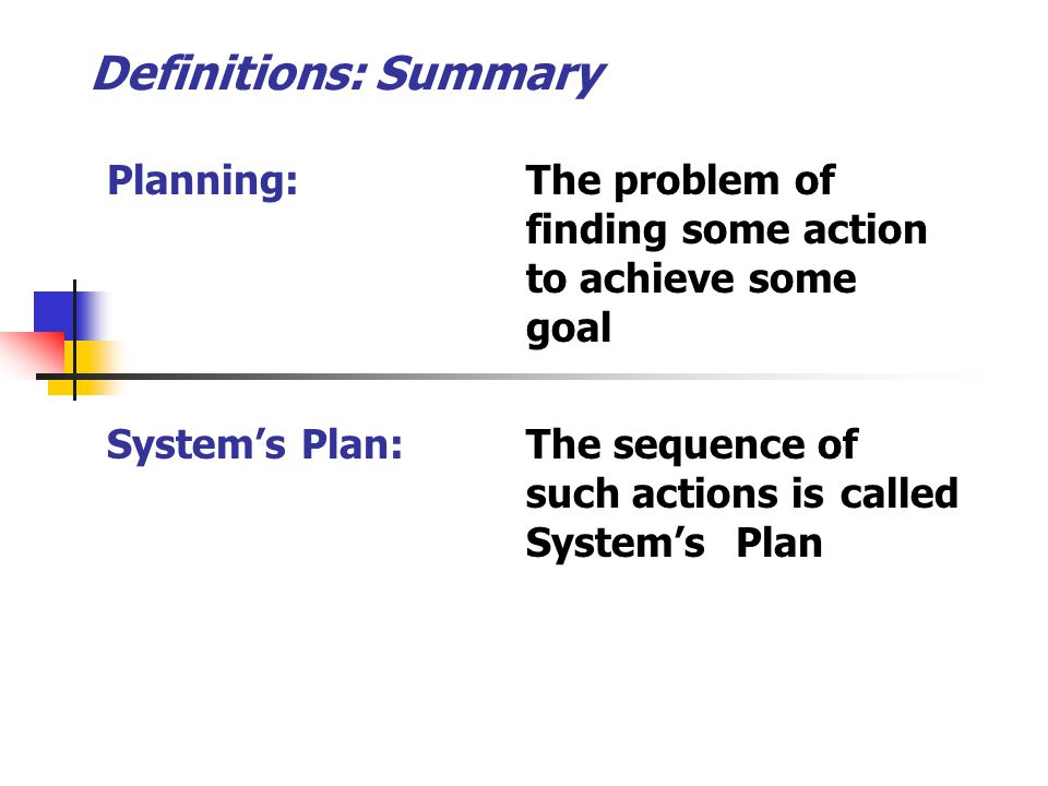 5 Planning/Expert Systems CS 331/531 Dr M M Awais Means – Ends Analysis (MEA) MEA is a simple planning method in AI.