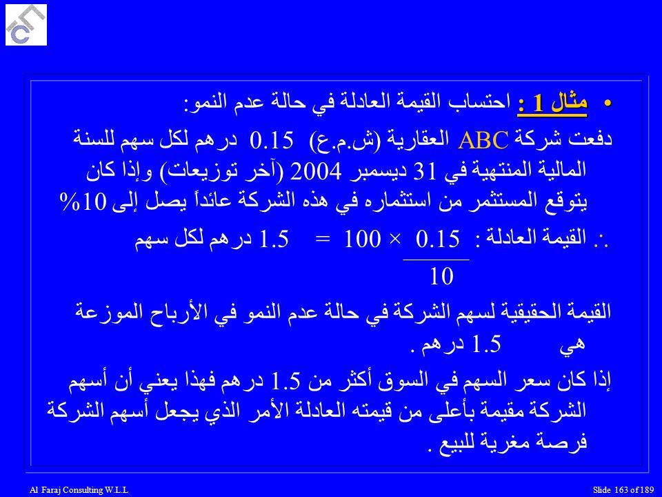 Al Faraj Consulting W.L.LSlide 163 of 189 مثال 1 :مثال 1 : احتساب القيمة العادلة في حالة عدم النمو: دفعت شركة ABC العقارية (ش.م.ع) 0.15 درهم لكل سهم للسنة المالية المنتهية في 31 ديسمبر 2004 (آخر توزيعات) وإذا كان يتوقع المستثمر من استثماره في هذه الشركة عائداً يصل إلى 10%  القيمة العادلة : 0.15 × 100 = 1.5 درهم لكل سهم 10 القيمة الحقيقية لسهم الشركة في حالة عدم النمو في الأرباح الموزعة هي 1.5درهم.
