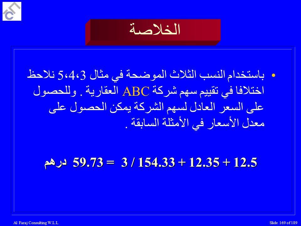Al Faraj Consulting W.L.LSlide 169 of 189 الخلاصة باستخدام النسب الثلاث الموضحة في مثال 5،4،3 نلاحظ اختلافا في تقييم سهم شركة ABC العقارية.