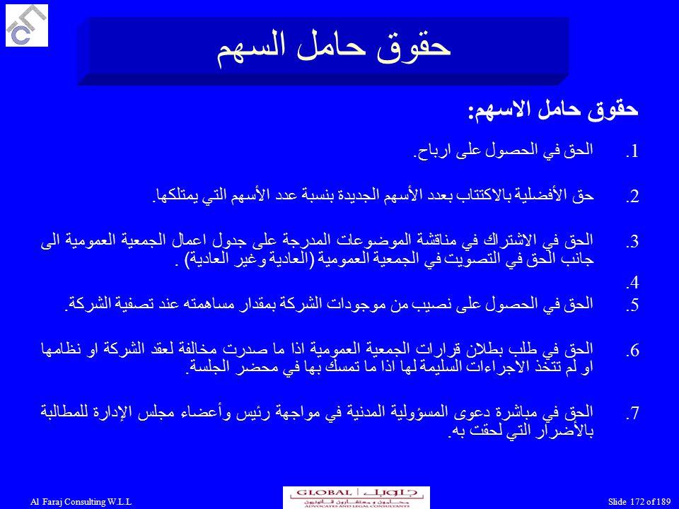 Al Faraj Consulting W.L.LSlide 172 of 189 حقوق حامل السهم حقوق حامل الاسهم: 1.