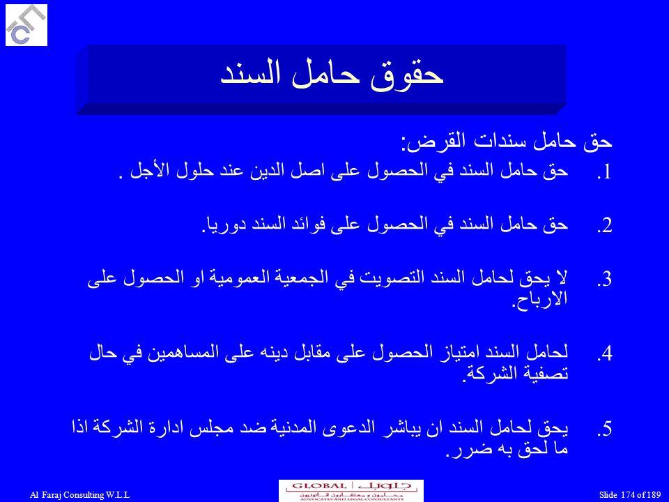 Al Faraj Consulting W.L.LSlide 174 of 189 حقوق حامل السند حق حامل سندات القرض : 1.