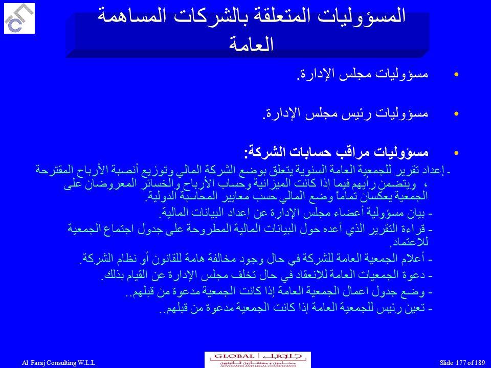 Al Faraj Consulting W.L.LSlide 177 of 189 مسؤوليات مجلس الإدارة.