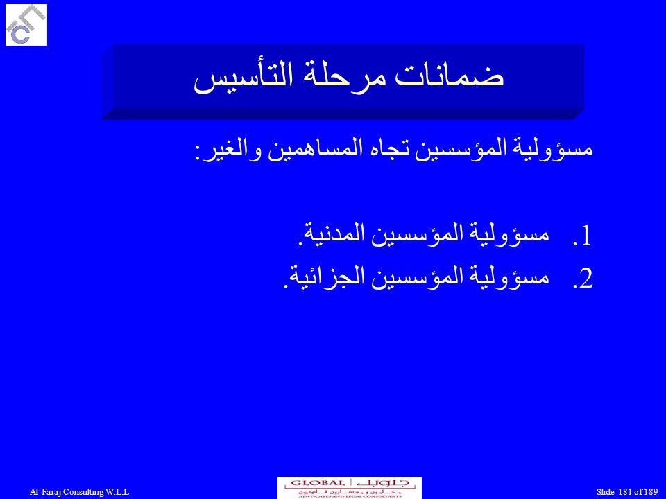 Al Faraj Consulting W.L.LSlide 181 of 189 ضمانات مرحلة التأسيس مسؤولية المؤسسين تجاه المساهمين والغير: 1.مسؤولية المؤسسين المدنية.
