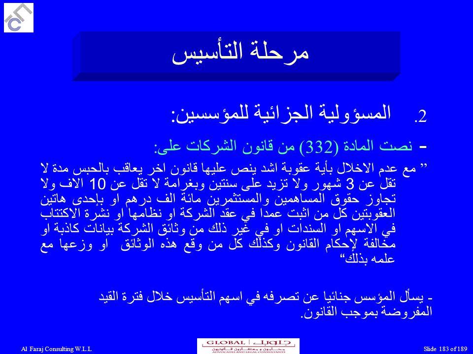 Al Faraj Consulting W.L.LSlide 183 of 189 مرحلة التأسيس 2.