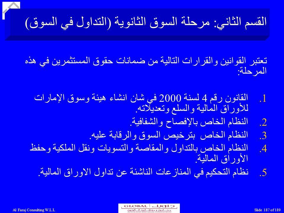Al Faraj Consulting W.L.LSlide 187 of 189 القسم الثاني: مرحلة السوق الثانوية (التداول في السوق) تعتبر القوانين والقرارات التالية من ضمانات حقوق المستثمرين في هذه المرحلة: 1.القانون رقم 4 لسنة 2000 في شان انشاء هيئة وسوق الإمارات للأوراق المالية والسلع وتعديلاته.