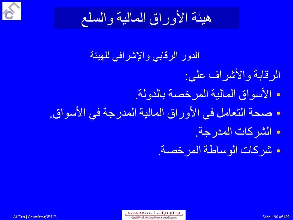 Al Faraj Consulting W.L.LSlide 190 of 189 الدور الرقابي والإشرافي للهيئة الرقابة والأشراف على: الأسواق المالية المرخصة بالدولة.