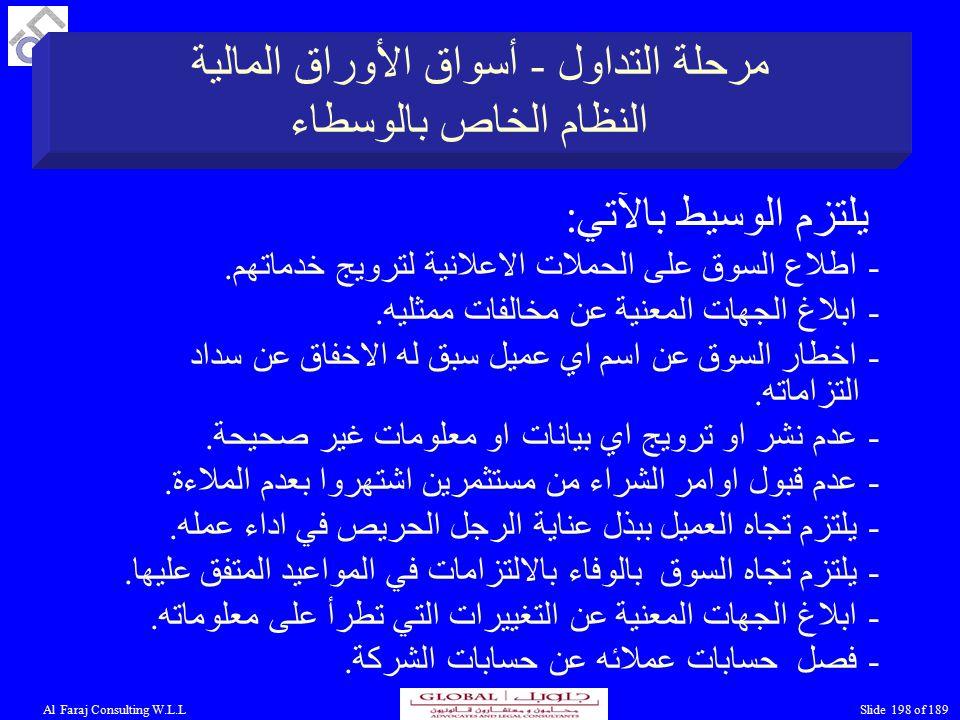 Al Faraj Consulting W.L.LSlide 198 of 189 يلتزم الوسيط بالآتي: - اطلاع السوق على الحملات الاعلانية لترويج خدماتهم.