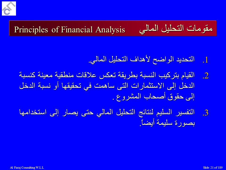 Al Faraj Consulting W.L.LSlide 21 of 189 مقومات التحليل المالي Principles of Financial Analysis 1.التحديد الواضح لأهداف التحليل المالي.