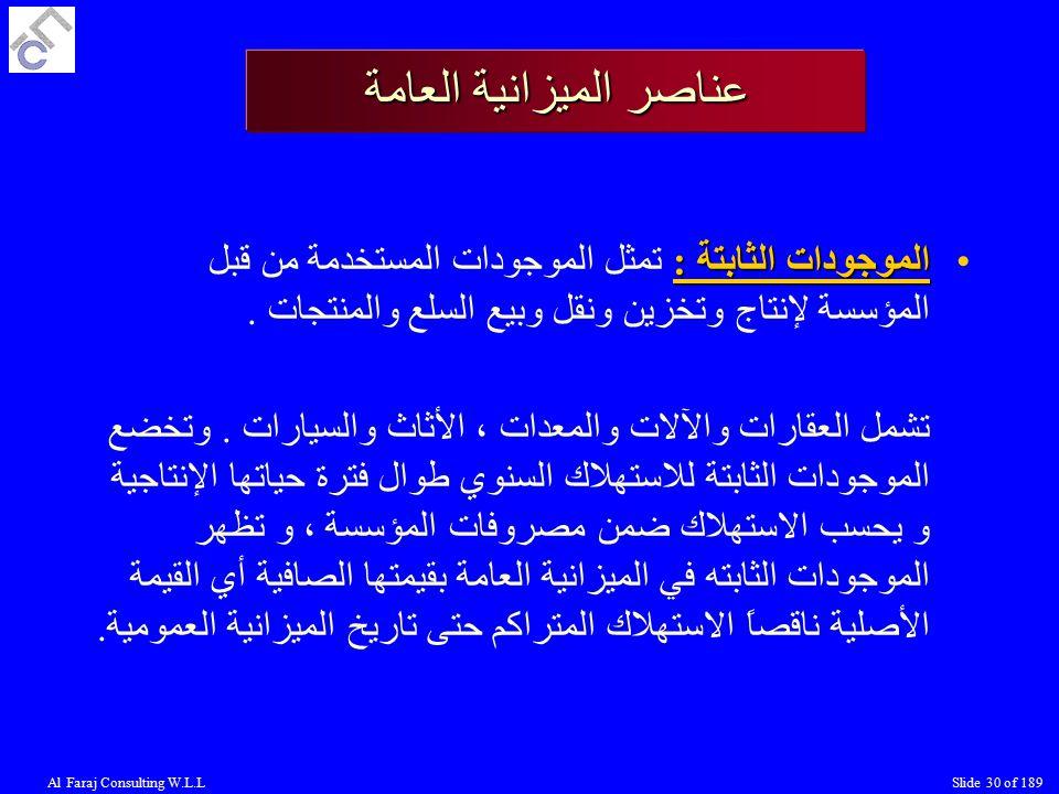 Al Faraj Consulting W.L.LSlide 30 of 189 الموجودات الثابتة :الموجودات الثابتة : تمثل الموجودات المستخدمة من قبل المؤسسة لإنتاج وتخزين ونقل وبيع السلع والمنتجات.