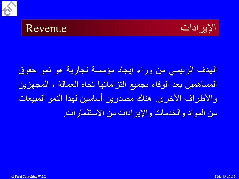 Al Faraj Consulting W.L.LSlide 43 of 189 الإيرادات Revenue الهدف الرئيسي من وراء إيجاد مؤسسة تجارية هو نمو حقوق المساهمين بعد الوفاء بجميع التزاماتها تجاه العمالة ، المجهزين والأطراف الأخرى.