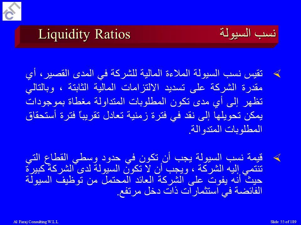 Al Faraj Consulting W.L.LSlide 55 of 189 نسب السيولة Liquidity Ratios  تقيس نسب السيولة الملاءة المالية للشركة في المدى القصير، أي مقدرة الشركة على تسديد الالتزامات المالية الثابتة ، وبالتالي تظهر إلى أي مدى تكون المطلوبات المتداولة مغطاة بموجودات يمكن تحويلها إلى نقد في فترة زمنية تعادل تقريباً فترة أستحقاق المطلوبات المتدوالة.