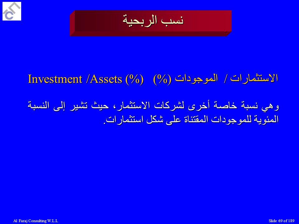 Al Faraj Consulting W.L.LSlide 69 of 189 نسب الربحية الاستثمارات / الموجودات (%) Investment /Assets (%) وهي نسبة خاصة أخرى لشركات الاستثمار، حيث تشير إلى النسبة المئوية للموجودات المقتناة على شكل استثمارات.
