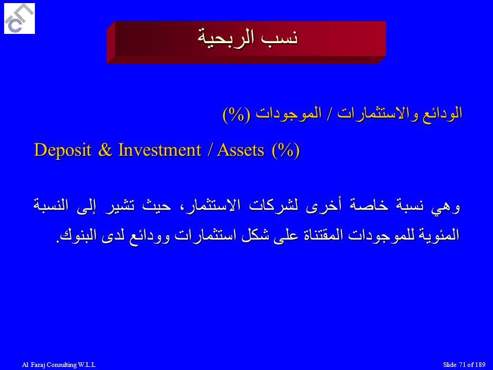 Al Faraj Consulting W.L.LSlide 71 of 189 نسب الربحية نسب الربحية الودائع والاستثمارات / الموجودات (%) Deposit & Investment / Assets (%) وهي نسبة خاصة أخرى لشركات الاستثمار، حيث تشير إلى النسبة المئوية للموجودات المقتناة على شكل استثمارات وودائع لدى البنوك.