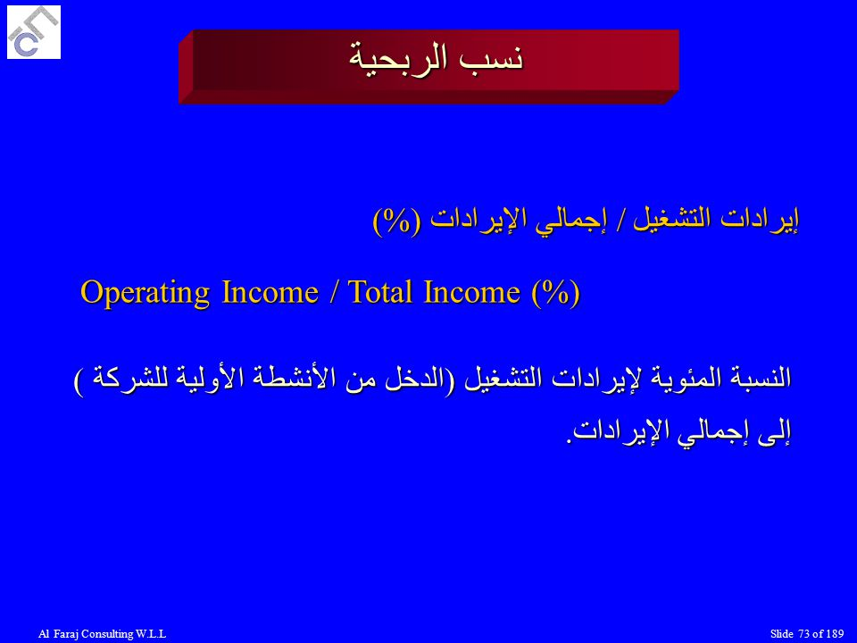 Al Faraj Consulting W.L.LSlide 73 of 189 نسب الربحية إيرادات التشغيل / إجمالي الإيرادات (%) Operating Income / Total Income (%) النسبة المئوية لإيرادات التشغيل (الدخل من الأنشطة الأولية للشركة ) إلى إجمالي الإيرادات.