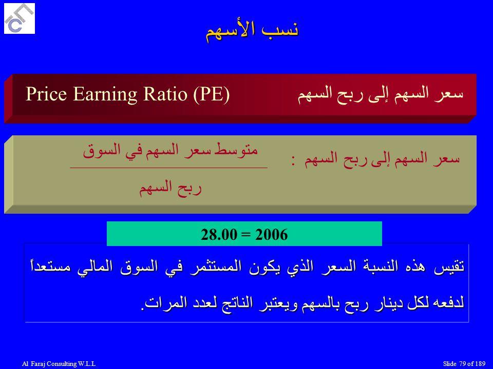 Al Faraj Consulting W.L.LSlide 79 of 189 Price Earning Ratio (PE) سعر السهم إلى ربح السهم : متوسط سعر السهم في السوق ربح السهم تقيس هذه النسبة السعر الذي يكون المستثمر في السوق المالي مستعداً لدفعه لكل دينار ربح بالسهم ويعتبر الناتج لعدد المرات.