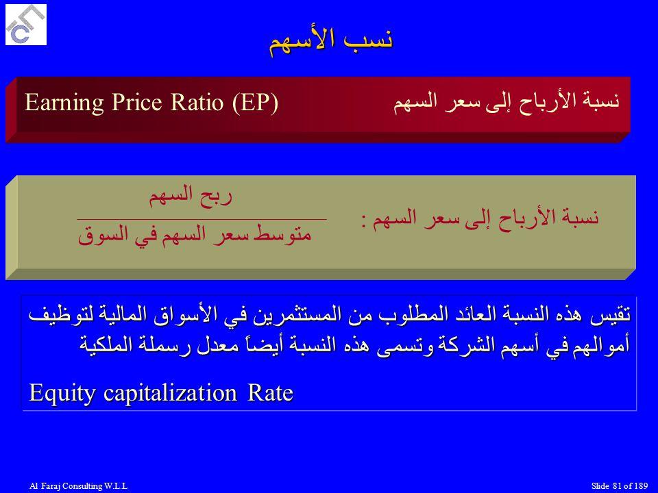 Al Faraj Consulting W.L.LSlide 81 of 189 Earning Price Ratio (EP) نسبة الأرباح إلى سعر السهم : ربح السهم متوسط سعر السهم في السوق تقيس هذه النسبة العائد المطلوب من المستثمرين في الأسواق المالية لتوظيف أموالهم في أسهم الشركة وتسمى هذه النسبة أيضاً معدل رسملة الملكية Equity capitalization Rate نسب الأسهم نسبة الأرباح إلى سعر السهم