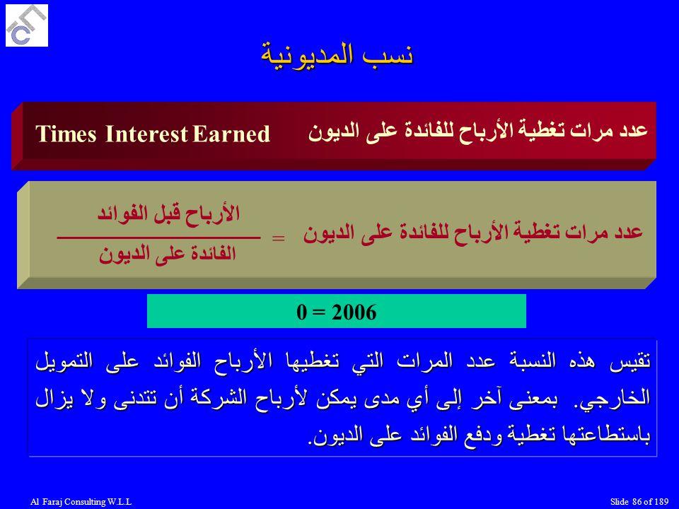 Al Faraj Consulting W.L.LSlide 86 of 189 Times Interest Earned عدد مرات تغطية الأرباح للفائدة على الديون = الفائدة على الديون الأرباح قبل الفوائد تقيس هذه النسبة عدد المرات التي تغطيها الأرباح الفوائد على التمويل الخارجي.