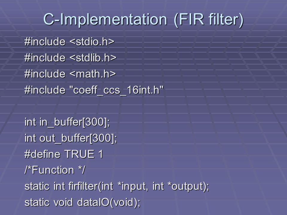 SUB B4,1,B4 ;B4=bottom coeff array h[N-1] loop: ;start of FIR loop LDH *A4++,A2 ; A2=x[n-(N-1)+i] i=0,1,...,N-1 LDH *B4- -,B2 ;B2=h[N-1-i] i=0,1,...,N-1 NOP 4 MPY A2,B2,A6 ;A6=x[n-(N-1)+i]*h[N-1-i] NOP ADD A6,A8,A8 ;accumlate in A8 LDH *A4,A7 ; A7=x[(n-(N-1)+i+1]update delays NOP 4 ;using data move up STH A7,*-A4[1] ;->x[(n-(N-1)+i] update sample SUB A1,1,A1 ;decrement loop count