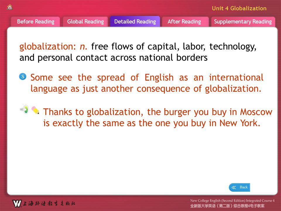 Supplementary ReadingAfter ReadingDetailed ReadingGlobal ReadingBefore Reading Unit 4 Globalization D R _ word _globalization globalization: n. free f