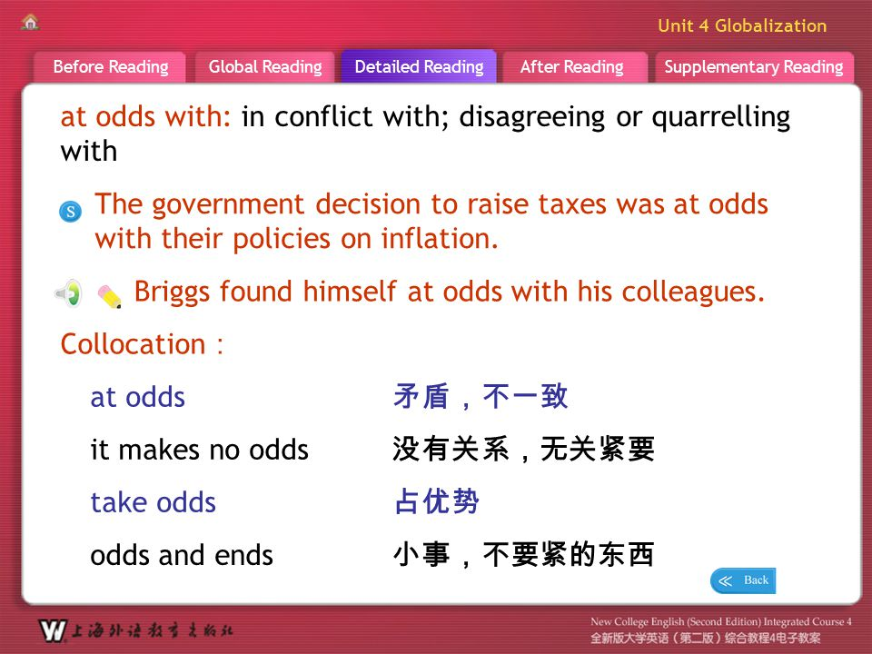 Supplementary ReadingAfter ReadingDetailed ReadingGlobal ReadingBefore Reading Unit 4 Globalization 小事,不要紧的东西 D R _ word _at odds with at odds with: i