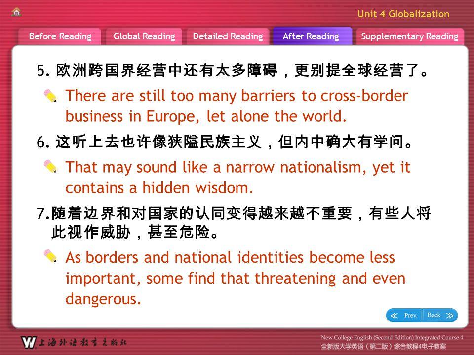 Supplementary ReadingAfter ReadingDetailed ReadingGlobal ReadingBefore Reading Unit 4 Globalization A R _ Sentence Translation 3 7. 随着边界和对国家的认同变得越来越不重