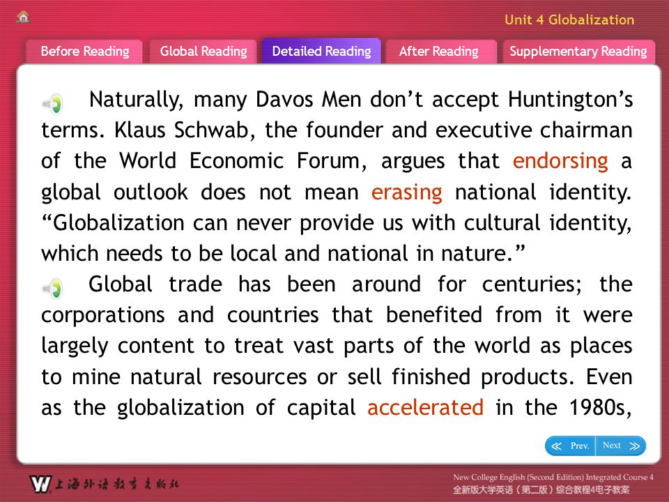 Supplementary ReadingAfter ReadingDetailed ReadingGlobal ReadingBefore Reading Unit 4 Globalization D R _ Text 8 Naturally, many Davos Men don't accep