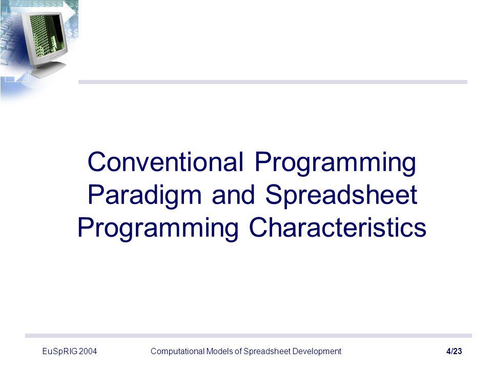 EuSpRIG 2004Computational Models of Spreadsheet Development5/23 The Spreadsheet Paradigm Spreadsheets ≠ conventional program Data dependencies –Data Flow Program (?) –Graph Reduction Problem (?) A1 A2B2 B4 A3