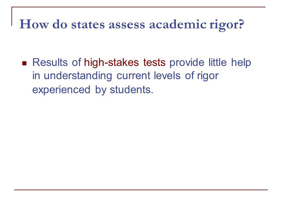 How do states assess academic rigor.