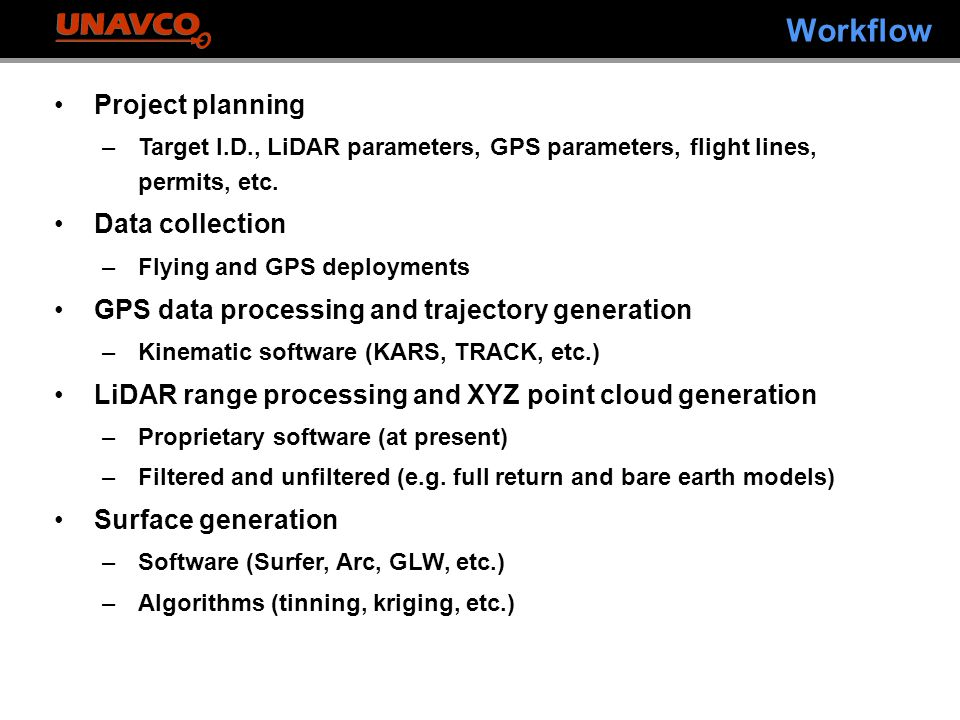 Workflow Project planning –Target I.D., LiDAR parameters, GPS parameters, flight lines, permits, etc.