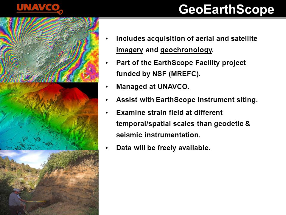 Includes acquisition of aerial and satellite imagery and geochronology. Part of the EarthScope Facility project funded by NSF (MREFC). Managed at UNAV